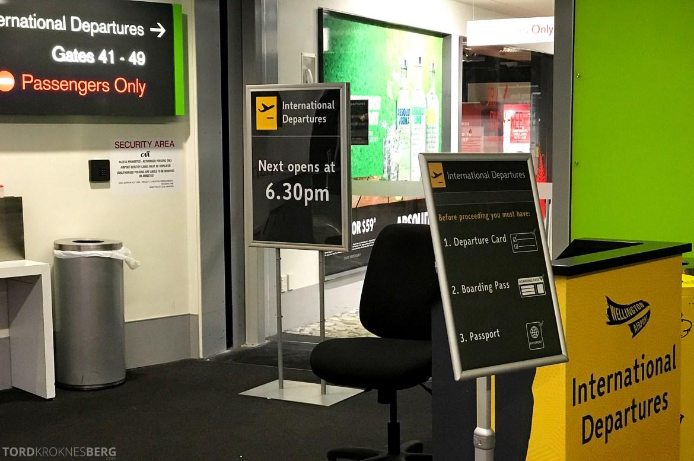 Air New Zealand Lounge Wellington sikkerhetskontroll