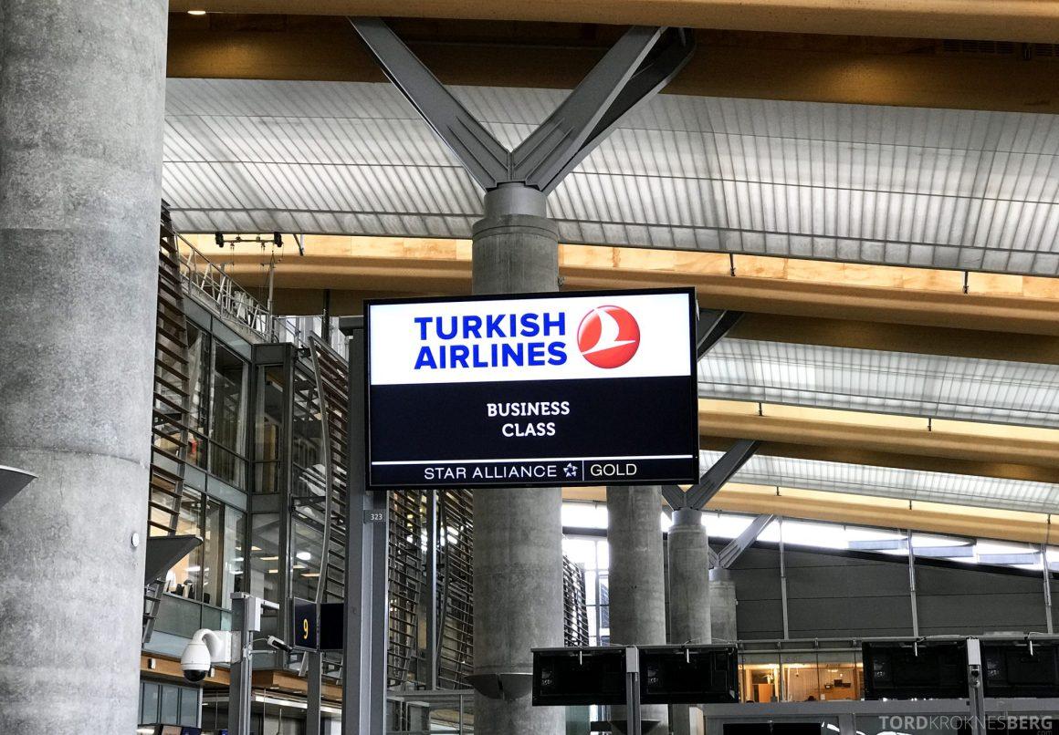 Turkish Airlines Business Class Oslo Istanbul innsjekk