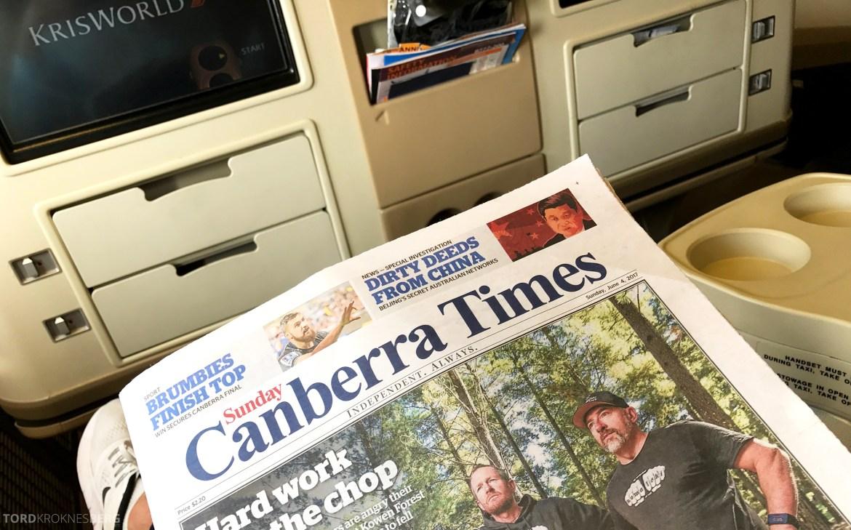 Singapore Airlines Business Class Canberra Wellington avis