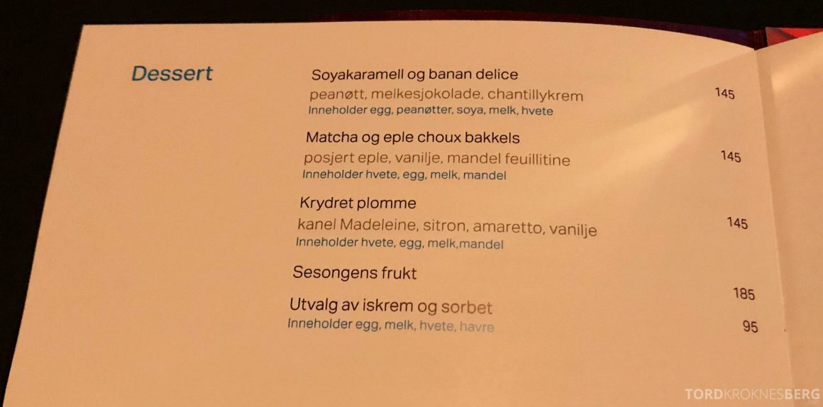 Ling Ling Hakkasan Oslo dessertmeny