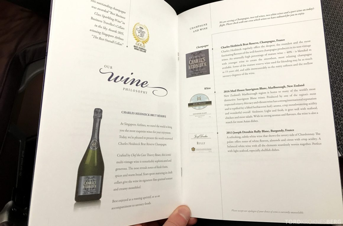 Singapore Airlines Business Class Moskva Stockholm meny vin