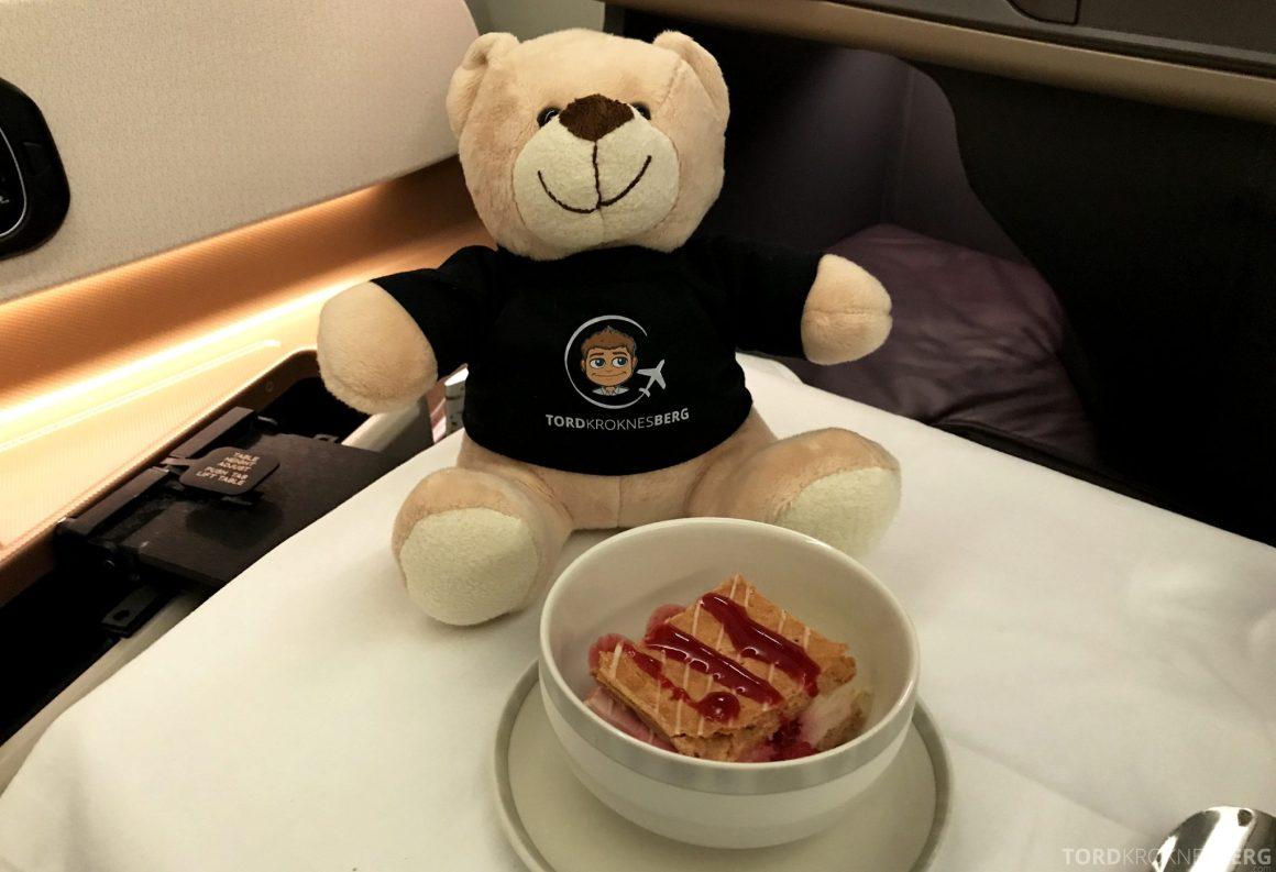 Singapore Airlines Business Class Moskva Stockholm reisefølget kake