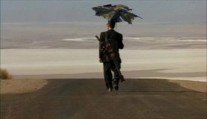 Six-String Samurai (1998) stars Jeffrey Falcon. Dir: Lance Mungia.