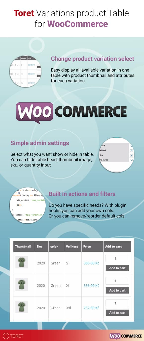 WooCommerce Variations Table
