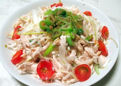 ささみとネギの中華サラダ