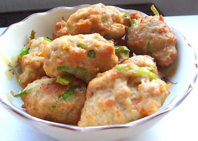 ひき肉と野菜のつくね揚げ