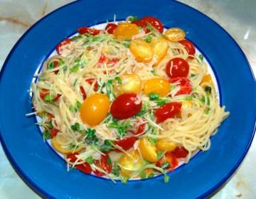 ミニトマトでさっぱり!ササミ缶とトマトの塩パスタ♪