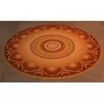 Round Patterned Rug (Gold)