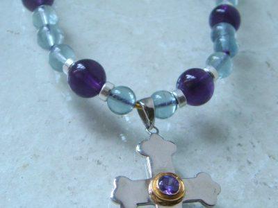 Kreuz mit Amethyst Steinkette 7