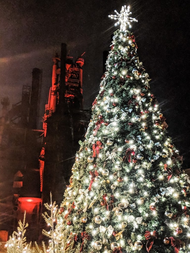 Christmas tree at Bethlehem SteelStacks