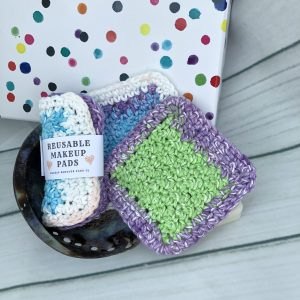 Violet stripes reusable makeup pads