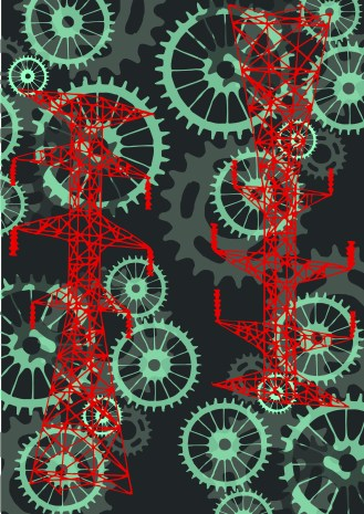 cogs and telegraph pole in red ai