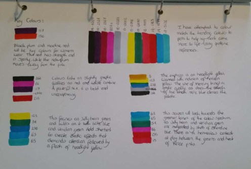 Colour palette from WGSN licked to my book with coloured pens.