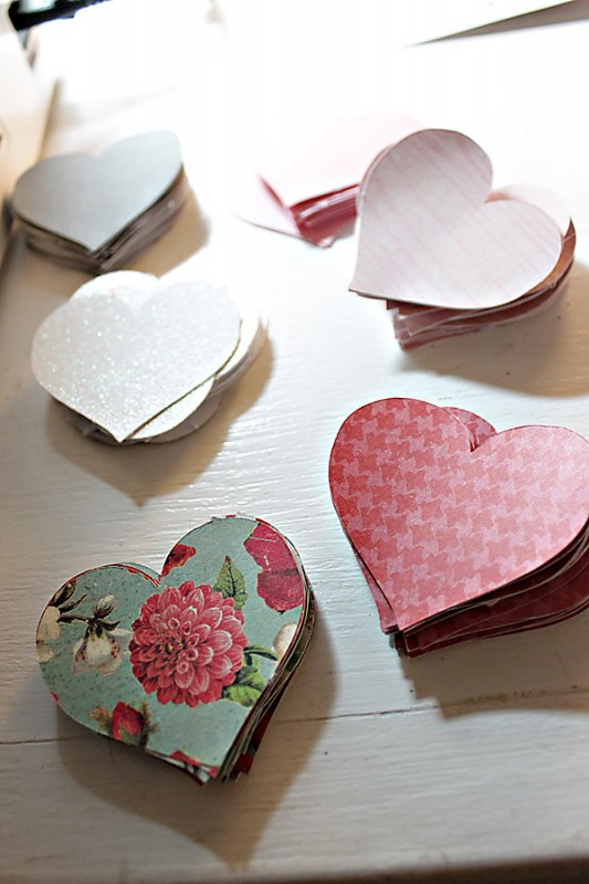 making heart garland