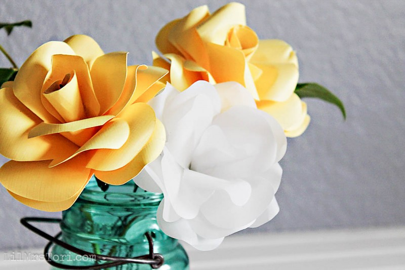 Yellow and White Paper Roses   Lil Mrs Tori