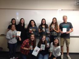 My freshman seminar class with our free starbucks and thanksgiving cards.