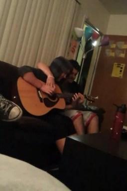 Josh is teaching me how to play guitar.