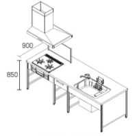 DIYキッチンフラット対面型