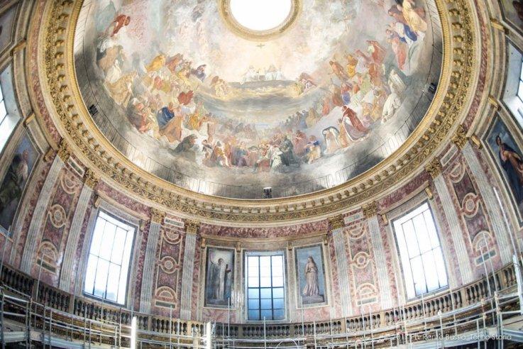 Torino, la cupola restaurata della Chiesa della Trinità.-6637