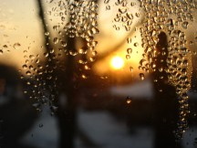 sunrise through water droplets