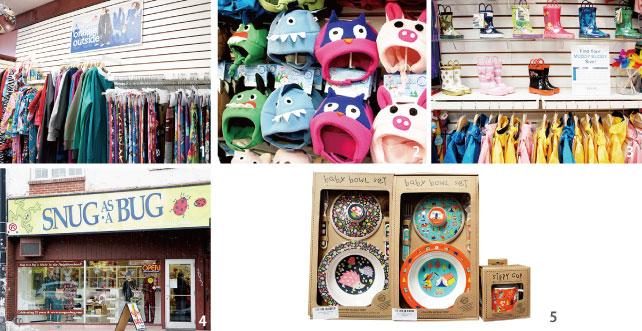 1.オリジナルのパジャマは$10で名前を入れることもできる 2.サメやフクロウなどの冬用の帽子もオリジナル 3.雨の日が楽しくなるようなポップな雨靴♪ 4.動物たちがパジャマを着ている遊び心にあふれたディスプレイ 5. 赤ちゃん用のかわいらしい食器