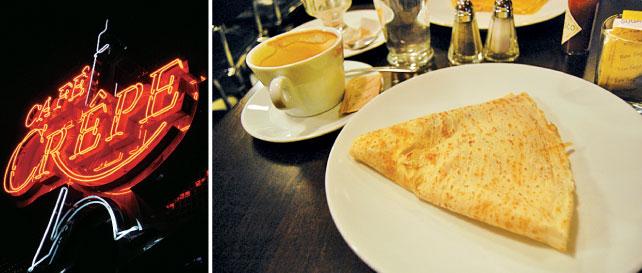 (左)パリのムーランルージュを思わせるネオン看板 (右) コーヒーとクレープの組み合わせは抜群