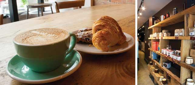 (左)窓辺の席で通りを眺めながらコーヒーを味わえる(右)コーヒー豆の他にも色々なコーヒー器具を購入することもできる