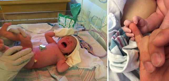 (4:生まれたてちびこは出産した部屋で身長・体重などチェックされます)(5:予想以上に小さい手に感動)