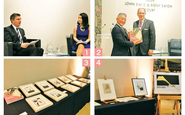 1 トークセッションを行うニューヨーク・フォーダム大学美術史助教授/ロイヤルオンタリオ博物館研究者の池田安里さん 2 中山泰則トロント総領事・ロイヤルオンタリオ博物館Josh Basseches新館長 3/4 ROMはカナダで最大の日本美術のコレクションを所蔵している。