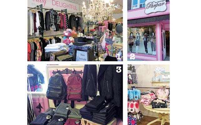 1天井にはゴージャスなシャンデリアが 2ピンクカラーがまぶしい外観 3あったかスキニーパンツ 4モコモコ素材の靴下とパジャマ