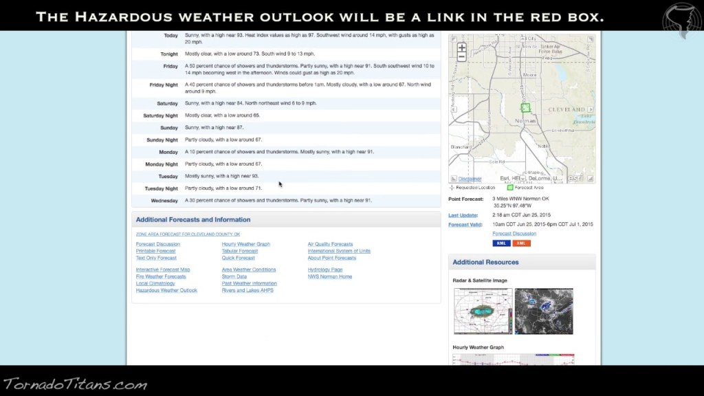 Checking the Hazardous Weather Outlook with the NWS