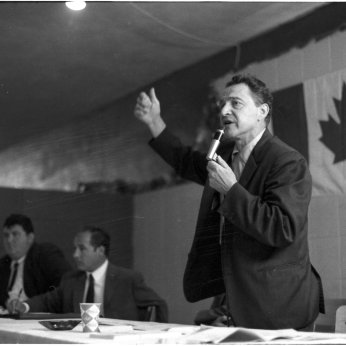 Bruno Zanini speaking at a CFWU Local 1 meeting at the York Centre Ballroom. Photo by Richard Cole. July 6, 1969. York University, Clara Thomas Archives and Special Collections, Toronto Telegram fonds, ASC52173.