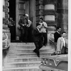 41 strikers being released from Don Jail on bail . Photo by Woods. June 21, 1961. York University, Clara Thomas Archives and Special Collections, Toronto Telegram fonds, ASC53016.
