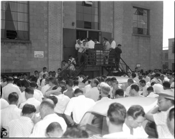 Crowd of workers gathered on the Brandon Hall parking lot listening to speakers. Photo by Albert Van. August 12, 1960. York University Libraries, Clara Thomas Archives and Special Collections, Toronto Telegram fonds, ASC52295.