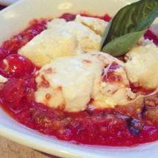 Ricotta Gnudi| House-made ricotta dumplings, eggplant caponata, and smoked mozzarella.