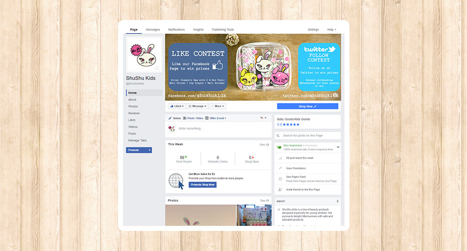 Facebook design for a kid's cosmetics brand