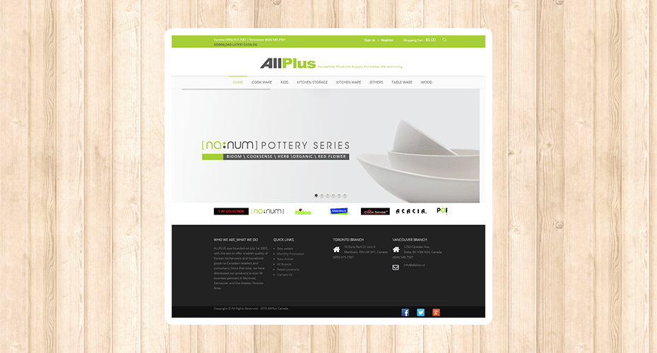 Responsive website for a kitchenware importer