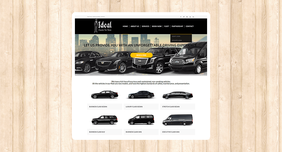 Responsive website for a limo ride company