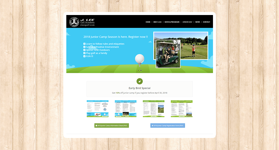 Responsive website renewal for a golf pro