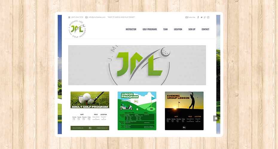 Responsive website for a golf pro