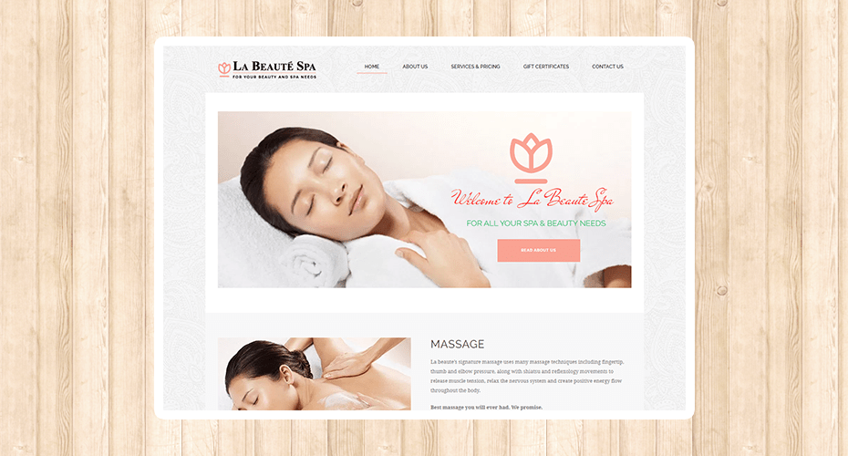 Responsive website for a spa