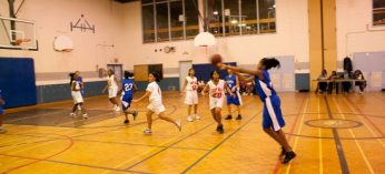 A Sir Wilfrid Laurier Blue Devil makes a pass on the way to a 42-22 win against the West Hill Warriors in junior girls high school basketball action Oct. 5.