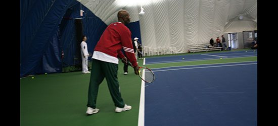 Wilson Bedeau shows how to serve (1/4).