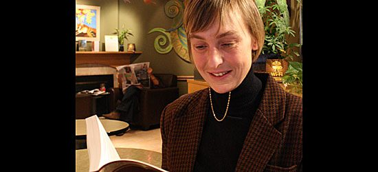 Betts reads a piece from her contribution to Canadian Voices, an article titled 'Luckyone'.