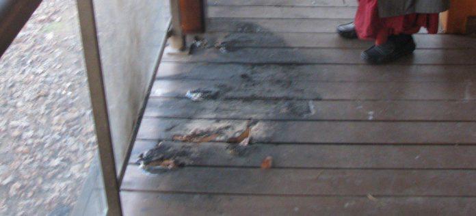 Some of the burn marks left from the blaze at the Maha Vihara Buddhist Meditation Centre.