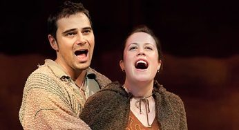 """Japheth, played by Sergio Calderon and Yonah, played by Lisa Metzger, profess their love in the song """"In Whatever Time We Have""""."""