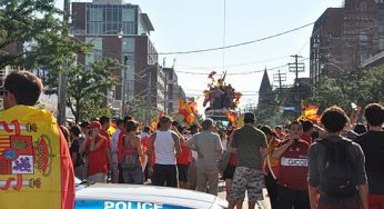 Police cars block College Street off for street party that ensued after Spain's World Cup win