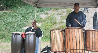 African drummers provide the soundtrack for the Subtext Multi-Arts Festival on Sept. 11 and 12 underneath the Lawrence Avenue East bridge. The festival, put on by The Bridging Project in partnership with other organizations, was meant as a community art intervention.