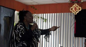 Canadian Calypso Queen Macomere Fifi performs at Scarlet Ibis Restaurant and Bar on Oct. 24 to inspire kids to take up the art form, she says. The performance was part of the Pass the Torch 5 CD release party.