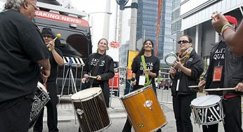 Wind instruments and drums fill the air outside the Air Canada Centre at the 2015 Pan Am Games logo launch party on Sept. 29.